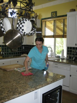 A picture of our staff cleaning kitchen counters